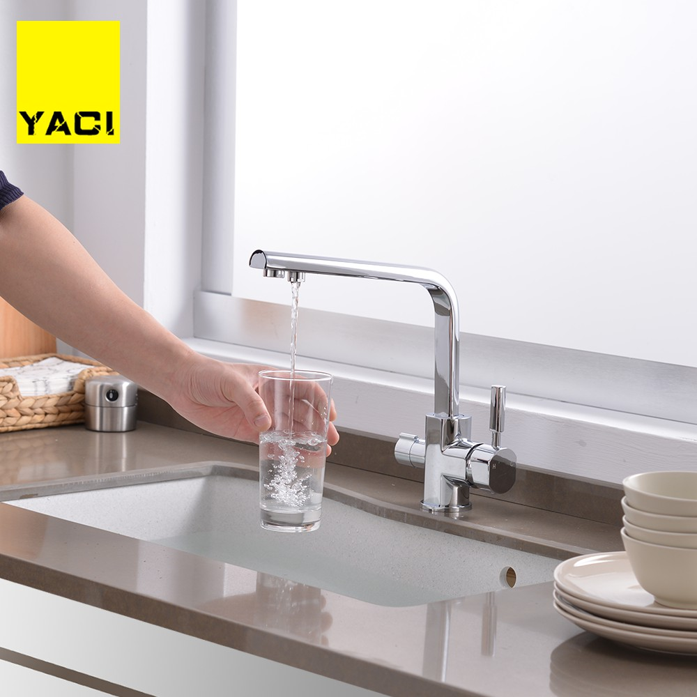 YACI Deck Mounted Kitchen sink Faucet Double Handle Water Purification Function 360 Rotation restroom mixerYACI Deck Mounted Kitchen sink Faucet Double Handle Water Purification Function 360 Rotation restroom mixer