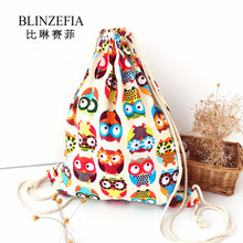 New 2019 Women Canvas Drawstring Bag Girls Cute Owl Print Backpack Custom Logo Linen Bag Free Shipping BZ5001