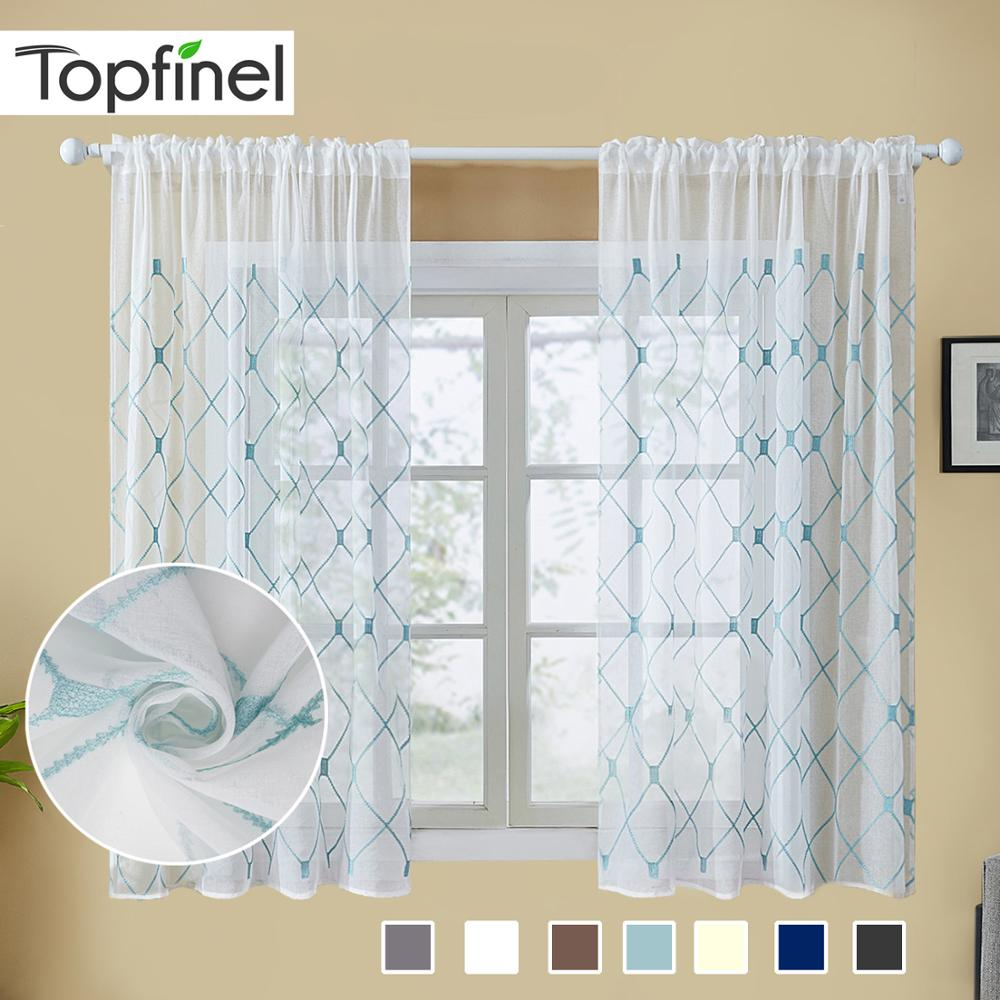 Topfinel Geometric Sheer Curtains Decoration Modern Live Room Kitchen Curtain Voile Tulle Embroidered Window Short Curtains