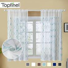 Topfinel Geometric Sheer Curtains Decoration Modern Live Room Kitchen Curtain Voile Tulle Embroidered Window Short