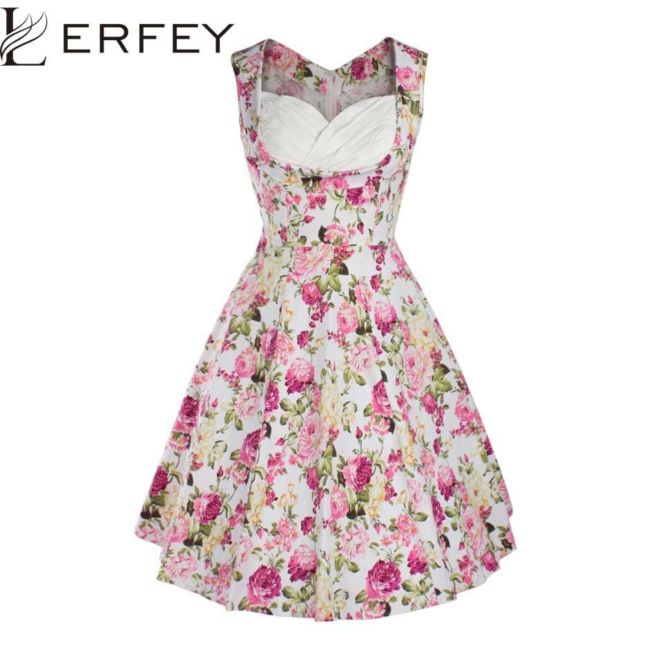 Lerfey verano estilo partido retro de la vendimia mujeres Vestidos ...