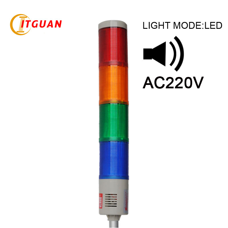 LTA-505J-4 AC220V 4 Layers Security LED signal tower light red/yellow/green/blue U Bottom lta 505 dc24v 4 layers led signal tower light alarm indicator lights led tower lamp