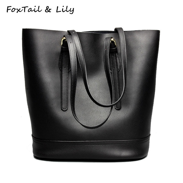 01c1f6b92294d FoxTail & Lily Popular Fashion Bucket Bag Women Genuine Leather Tote  Handbags Luxury Large Capacity Casual Shoulder Bags Female