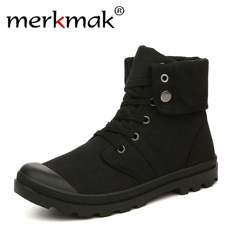Merkmak Herbst Winter Männer Leinwand Stiefel Armee Kampf Stil Fashion High-top Military Stiefeletten herren Schuhe Komfortable turnschuhe