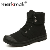 Merkmak Autumn Winter Men Canvas Boots Army Combat Style Fashion High Top Military Ankle Boots Men