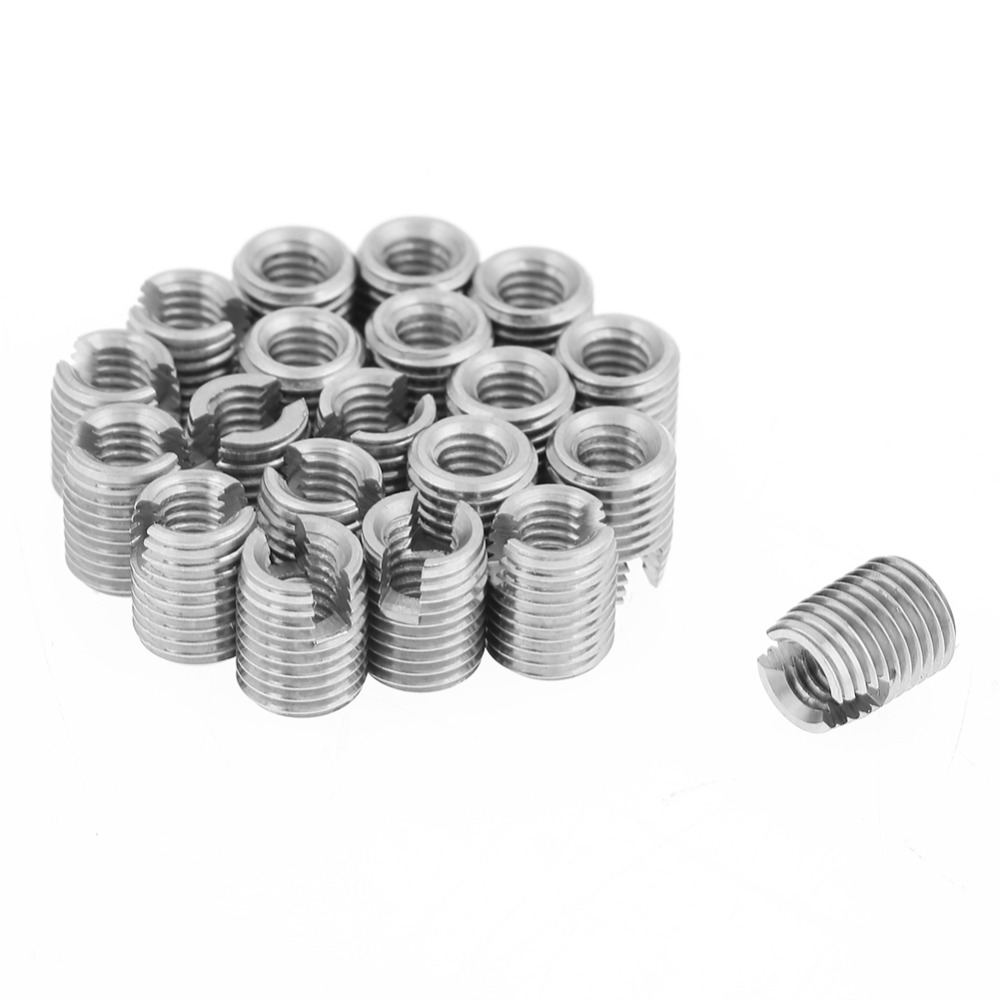 US $6 1 39% OFF|20pcs/Lot M4x8mm Self Tapping Thread Insert Metal Slotted  Screw Thread Inserts Set Fasteners Repair Tools Kit-in Threaded Insert from