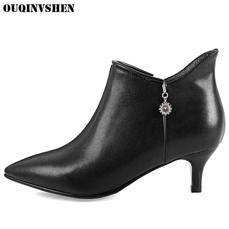 все цены на OUQINVSHEN Pointed Toe Thin Heels High Heels Women's Boots 2017 New Casual Fashion Winter Crystal Ankle Boots Zipper Women Boots