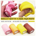 Jumbo 10CM Squishy Super Slow Rising Hello Kitty Swiss Egg Roll Cake Mobile Phone Lanyard Squishi Phone Strap for Key Toys