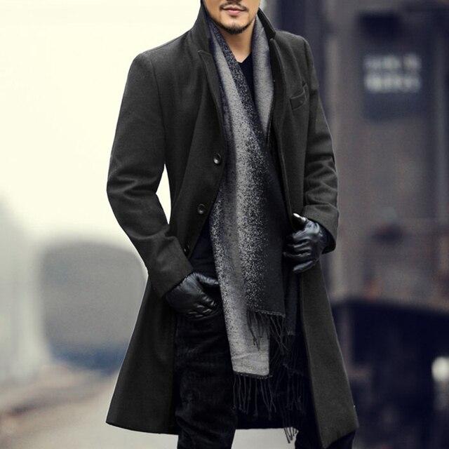 Для Мужчин's Шерстяное пальто зимние кашемировые куртка человек длинная куртка с секциями Однобортный пальто отложной воротник Повседневное Европейский стиль мода