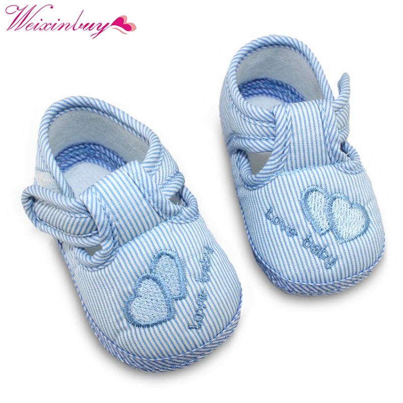 2017 Style Kids printed Nice Heart Baby striped Infant Toddler Soft Sole Anti-Slip Newborn Shoes 0-12M