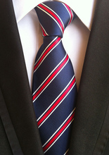 2015 Men Formal necktie TOP Woven tie navy blue with red & white diagonal stripes