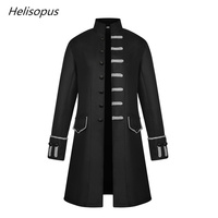 Helisopus Fashion Men's Jacket Gothic Steampunk Long Jacket Medieval Vintage Stand Collar Solid Color Coat Men