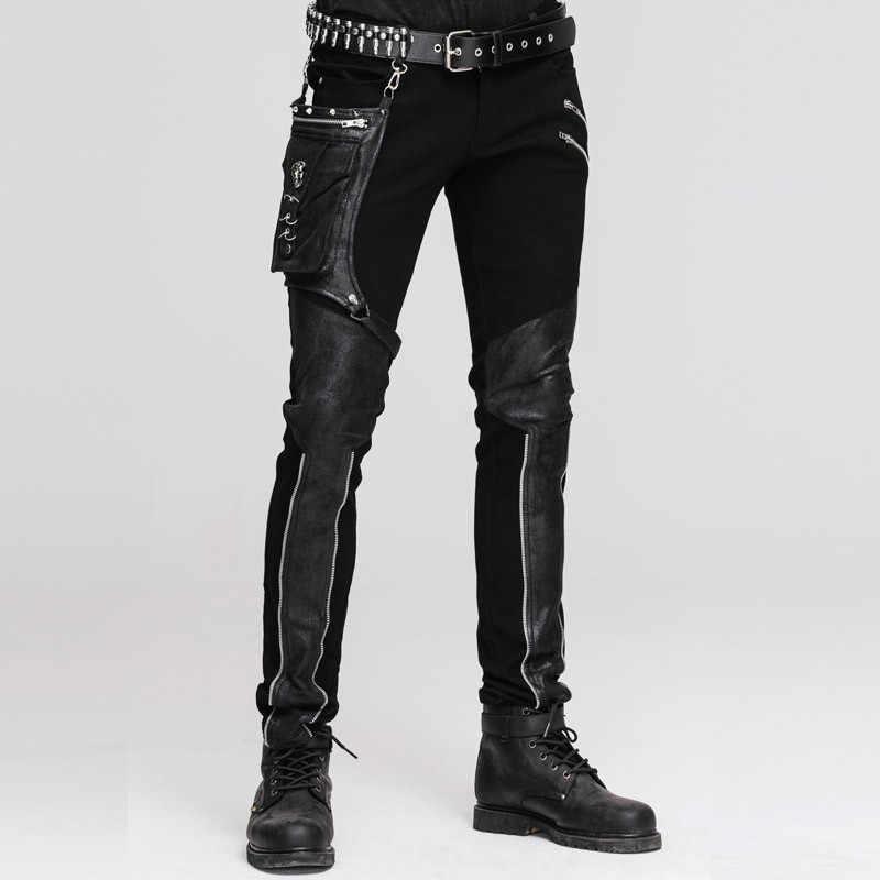 Стимпанк мужские зимние длинные брюки с высокой талией повседневные облегающие