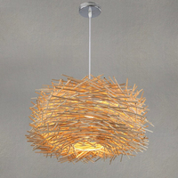 wicker pendant lamp handmade suspension vintage lamp bird nest shape hanging lighting for restaurant nordic light fixtures