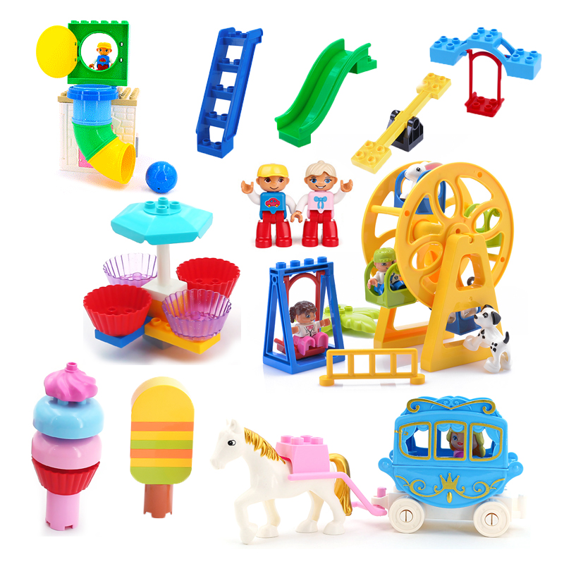 New Playground Set Big Building Blocks accessory Slide pipeline cake Assemble DIY Toys Children girl Gift Compatible Duplo Brick(China)