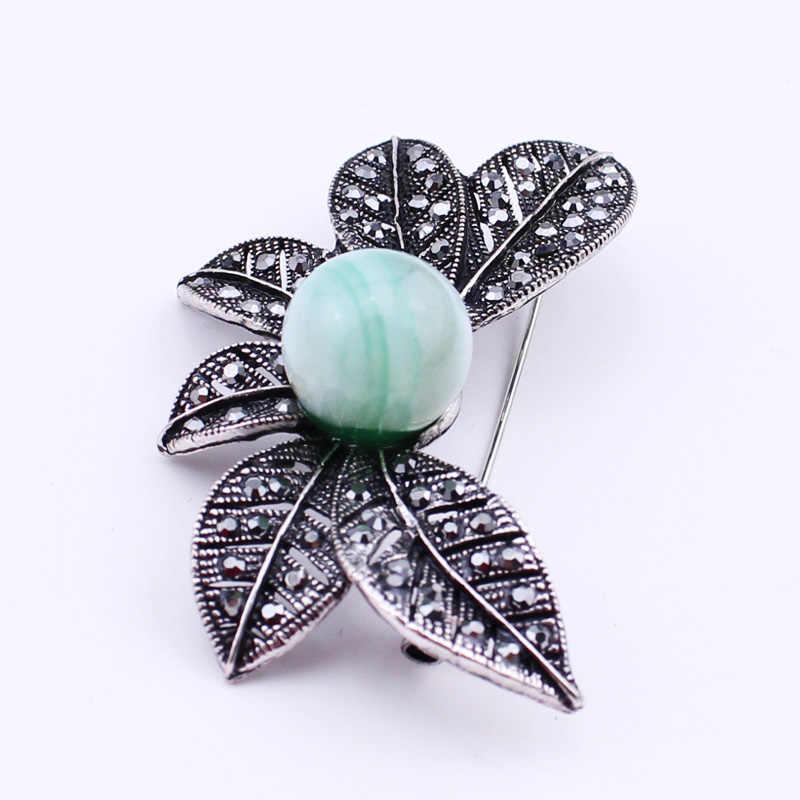 Antik Pohon Daun Bros Jarum Pengaman Batu Alam Hijau Manik-manik Bros untuk Wanita Perhiasan Perak Antik Hadiah, item Tidak.: BH8300
