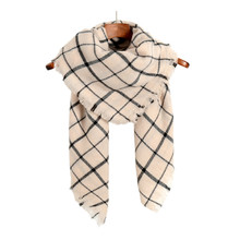 [Ode To Joy] High Quality beige Plaid Women Scarf  Cashmere Winter Scarf Female Warm Tartan Foulard Shawl square Scarves