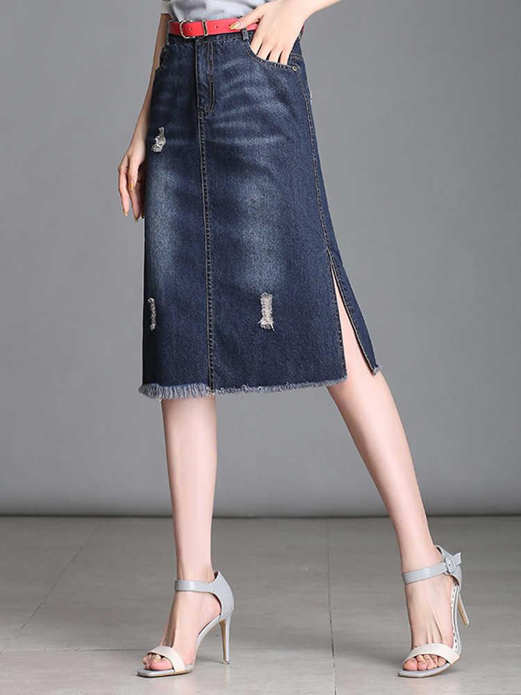 Wysłać bawełna 2018 jesień Side podział dżinsy Denim kobiet Knee-długość Tassel spódnice damskie wysokiej talii kieszeń przycisk spódnice
