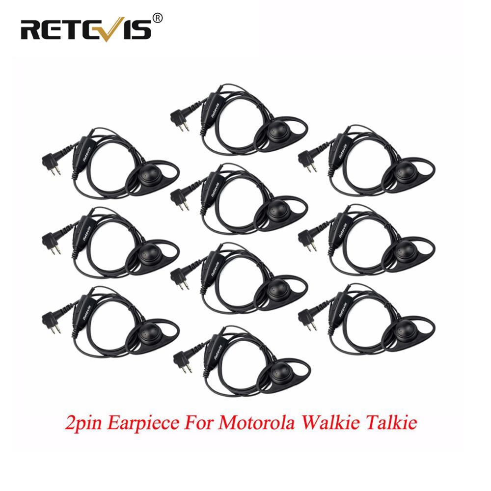 10pcs Retevis D Shape Soft Ear Hook Earpiece PTT Walkie Talkies Headset For Motorola GP300 P040 GP2000 P080 CT150 For HYT TC-500