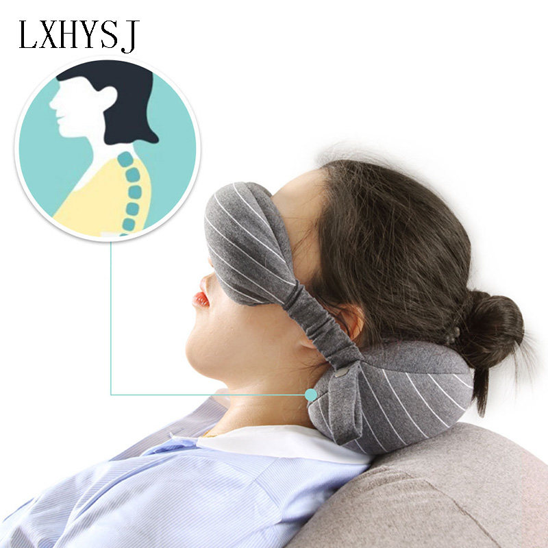 Travel Neck Pillow And Eye Mask Set Office Lunch Break Cotton U-shaped Neck Pillow Shading Goggles Unisex Travel Accessories