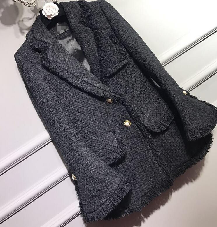 2017 Noir Manches À Piste Nouvelle Luxe Mode Latérales Évasée Conception Longue Hem Veste Classique Poches Tweed De Avec Printemps Frangée wwxr0nTa