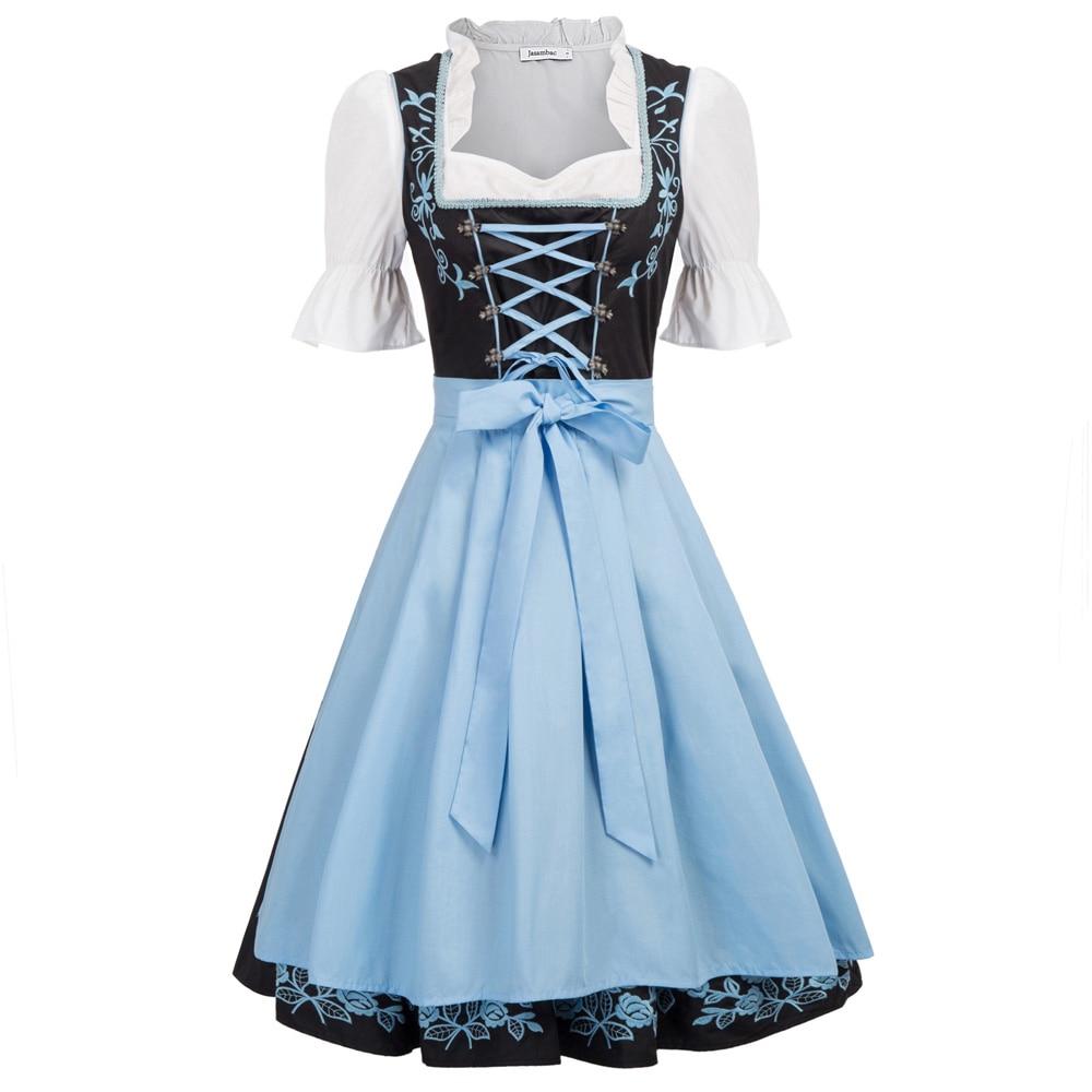 Femmes balançoire robe élégante rétro ceinture à lacets volants été bavarois allemand Oktoberfest Costumes une ligne vintage robe + tablier dame