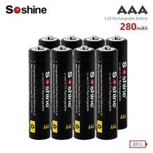 Soshine 8pcs 10440 280mAh 3.2V LiFePO4 Rechargeable AAA Battery 3A Bateria For Mini Audio Torch +Battery Holder Case Box 4pcs soshine 10440 280mah 3 2v lifepo4 rechargeable aaa battery portable battery box 2pcs battery connectors