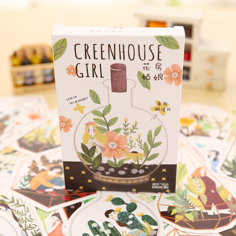 30 pcs/lot novelty heteromorphism Greenhouse Girl postcard greeting card christmas card birthday card gift cards 30 pcs lot novelty yard cat postcard cute animal heteromorphism greeting card christmas card birthday message card gift cards