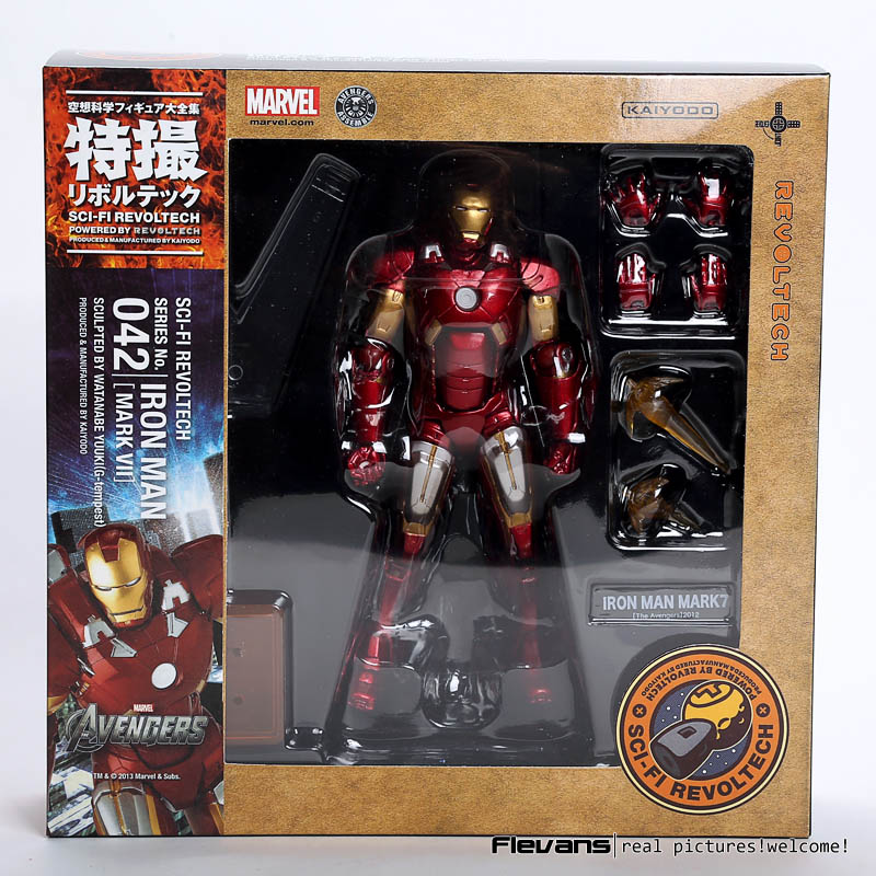 SCI-FI Revoltech Series NO. 042 Iron Man Mark VII MK 7 PVC Action Figure Collectible Model Toy HRFG514 marvel iron man mark 43 pvc action figure collectible model toy 7 18cm kt027
