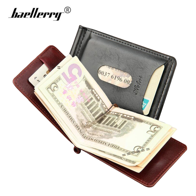 Baellerry Magnetic Money Clip Wallet Men Leather Purse Minimalist Clamp For Money Clips Zipper Coin Pocket Card Dollar Holder