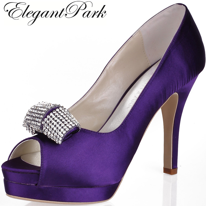 Women Purple High Heel Peep Toe Rhinestone Platform Pumps Satin Bridesmaid Lady Evening Party Dress Wedding Bridal Shoes EP11061 navy blue woman bridal wedding sandals med heel peep toe bride bridesmaid lady evening dress shoes white ivory pink red hp1623