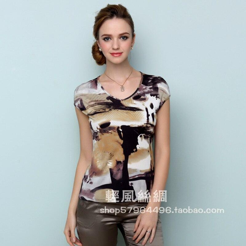 Frauen 100% silk kurzhülse T-shirt reale seide gestrickte doppelseitigen kurze paket hülse frauen top