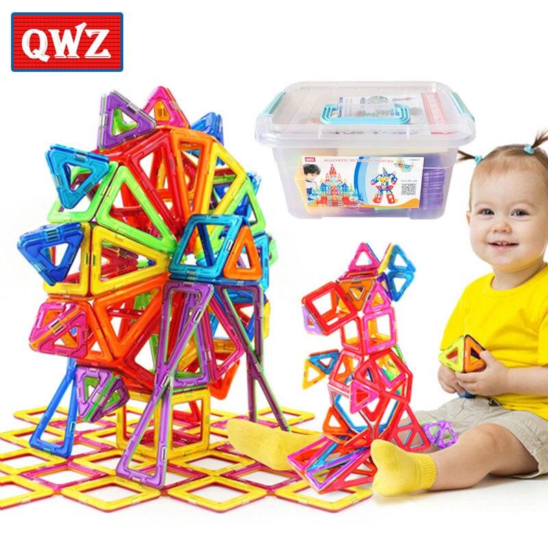 QWZ 152pcs Mini Magnetic Designer Construction Set Model & Building Toy Plastic Magnetic Blocks Educational Toys For Kids Gift стоимость