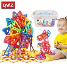 QWZ 152 adet Mini manyetik tasarımcı inşaat seti modeli ve bina oyuncak plastik manyetik bloklar eğitici oyuncaklar çocuklar için hediye