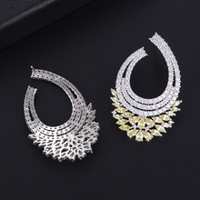 Siscathy 49*32mm Trendy Full Micro Cubic Zirconia Geometric Stud Earrings For Women Fashion Jewelry pulseras mujer moda 2019