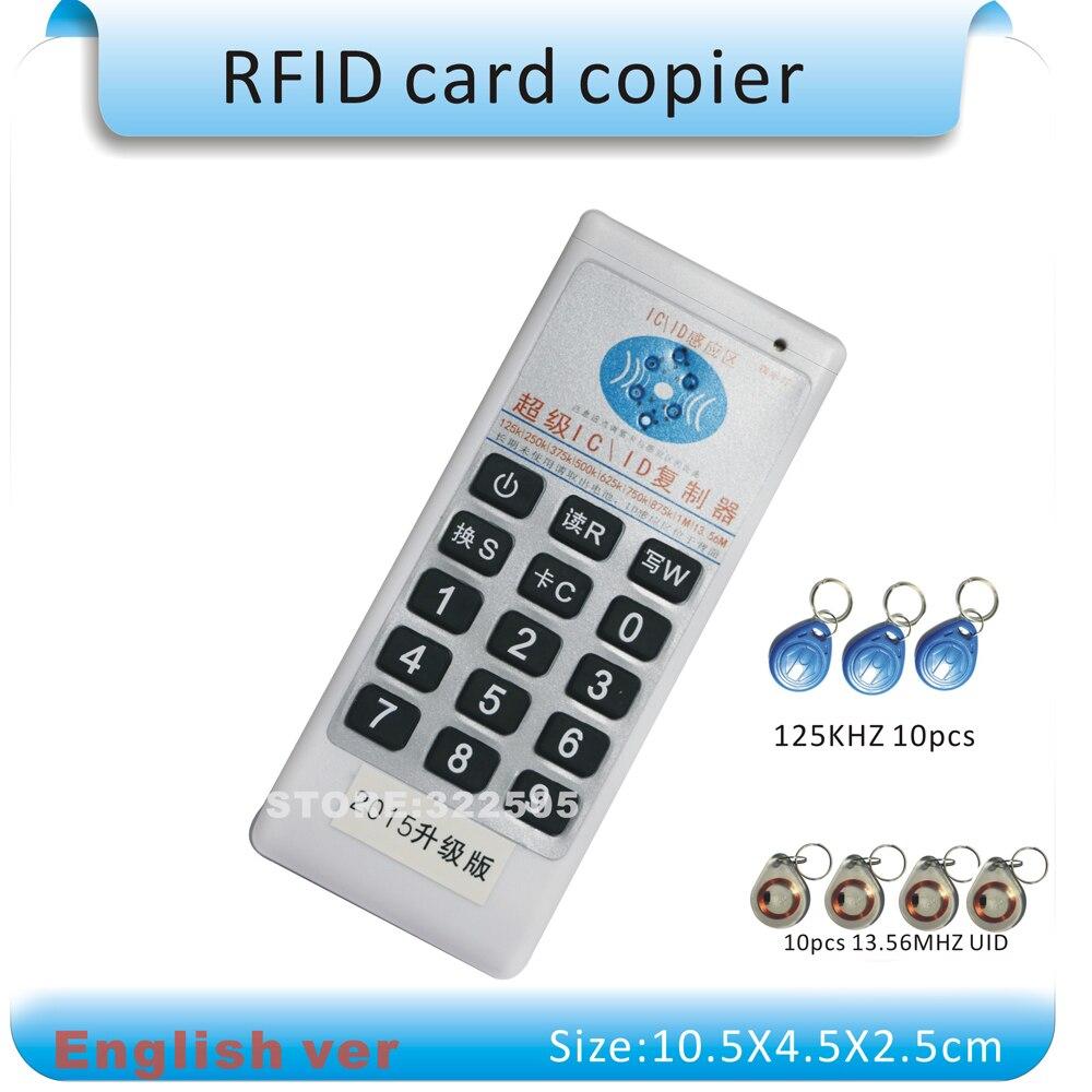 bilder für Englisch ver Handheld 125 Khz-13,56 MHZ mehr frequenz zugang RFID karte Duplizierer/Kopierer + 10 stücke 125 KHZ tags + 10 stücke 13,56 MHZ tags
