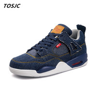 TOSJC 2018 Man Casual Shoes Low Top Lace Up Fashion Vulcanize Shoes Zapatos Hombre Outdoor Shoes Blue Color