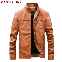 MANTLCONX Plus Size M-4XL Men's Leather Jackets Men Stand Collar Coats Male Motorcycle Leather Jacket Casual Brand Mens Clothing enjeolon brand new arrive motorcycle leather jackets men autumn winter clothing zipper stand collar male casual black coats