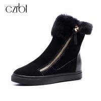CZRBT Plus Size Women Snow Boots Warm Wool Blend Ankle Boots Winter Women Shoes Side Zipper