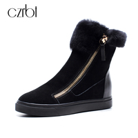 CZRBT Plus Size Women Snow Boots Warm Wool Blend Ankle Boots Winter Women Shoes Side Zipper