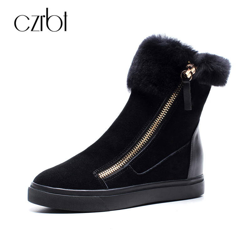 CZRBT Plus Size Women Snow Boots Warm Wool Blend Ankle Boots Winter Women Shoes Side Zipper Flat Heel Boots Fashion Short Boots new fashion lady warm winter wool zipper tube snow boots for women knight boots brown size 34 43 women boots shoes new