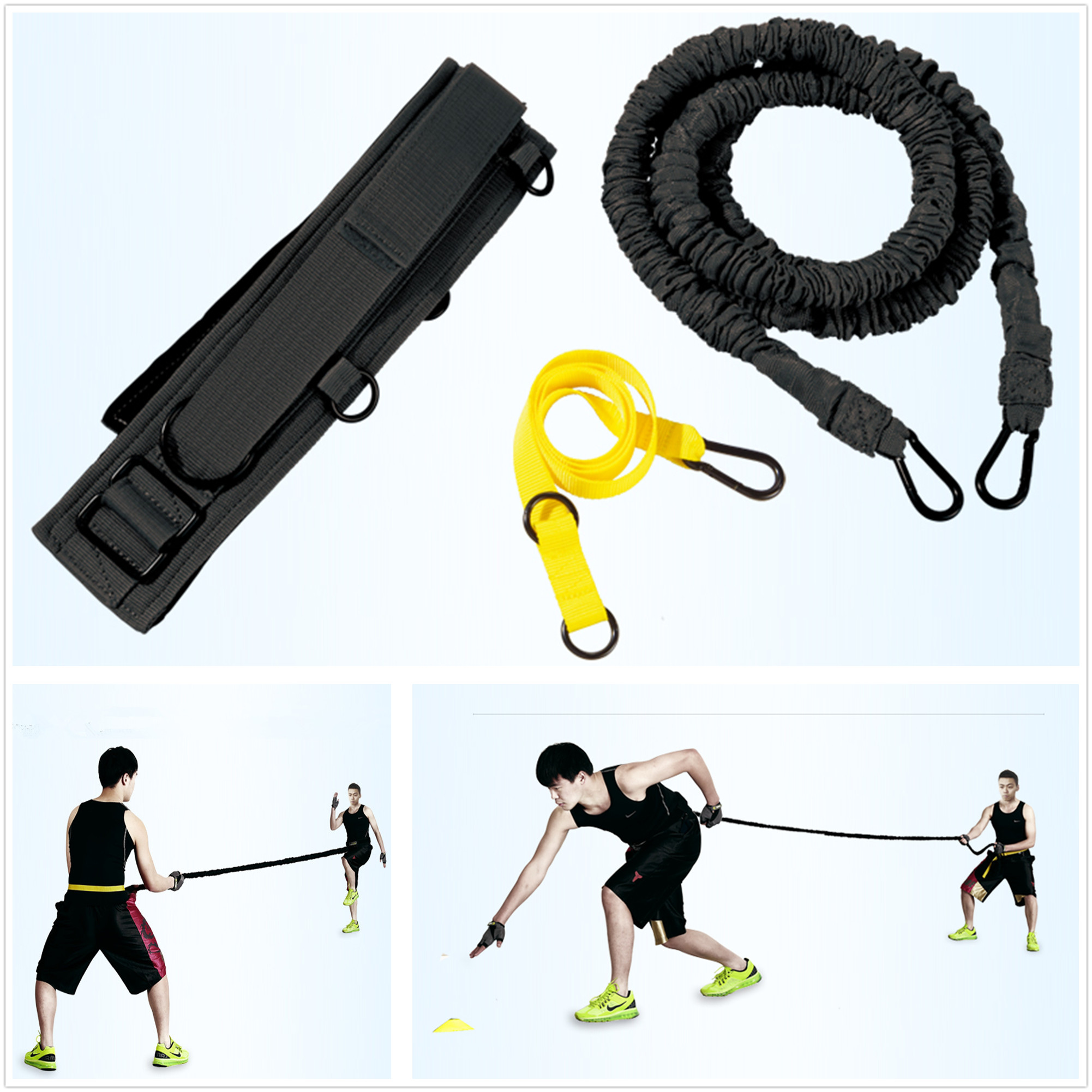 Fitness Resistance Bugnee band Strength Agility Training Power Speed Sprint Trainer Equipment new durable 9 rung 16 5 feet 5m agility ladder for soccer and football speed training with carry bag fitness equipment ea14