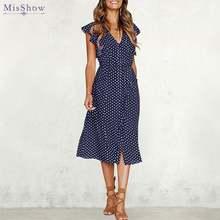 Женское винтажное платье миди в горошек с воланом на рукавах