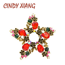 CINDY XIANG Red And Green Color Christmas Star Brooches Fashion Vintage Brooch Pin Wedding Party Accessories High Quality New