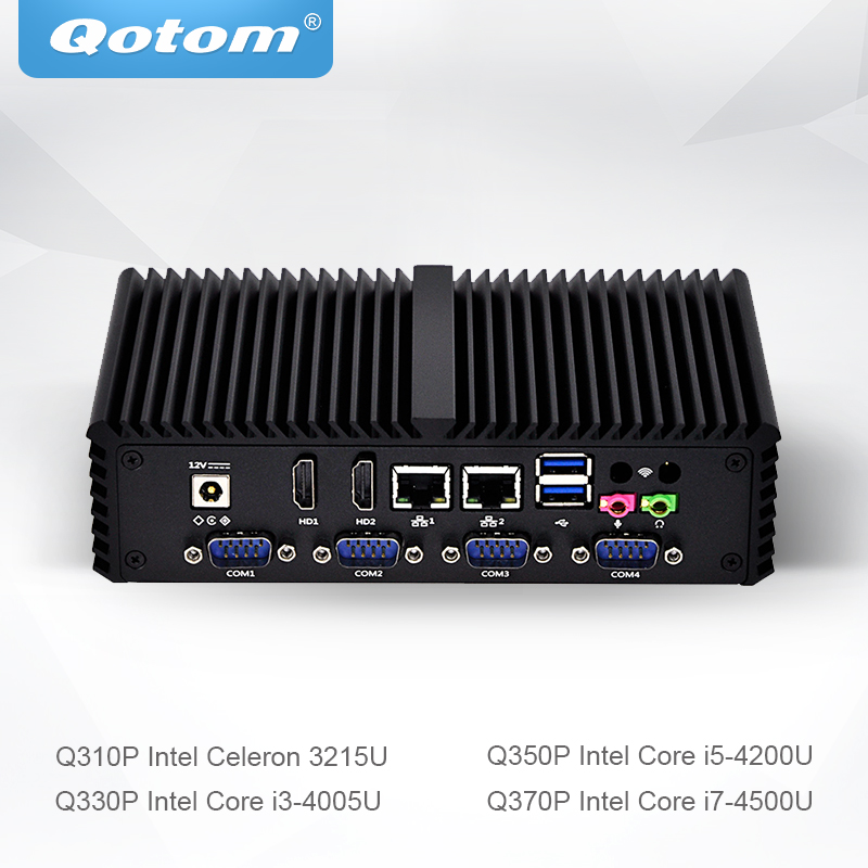 Qotom Mini PC Little Fanless Computer Celeron Core i3 i5 i7 with Dual Core 2 Gigabit Ethernet LAN 6 COM Small Computer Q300P hot sale celeron mini pc desktop computers dual lan mini pc x29 j1800 j1900 2 gigabit lan hdmi vga windows 7 win10 ubuntu