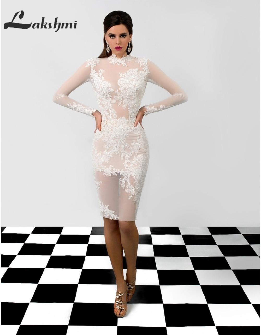 Sexy Illusion Bodice Short Wedding Dresses Long Sleeve Sheath Knee