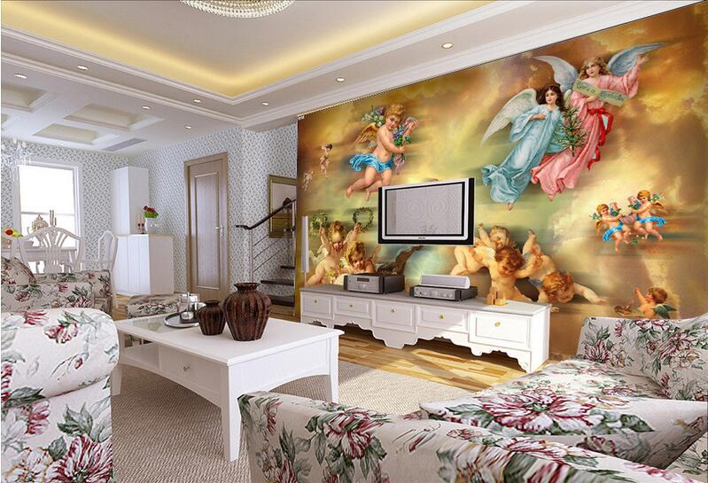 3d room wallpaper custom mural non-woven wall sticker 3 d The sitting room angel canvas  painting photo wallpaper for walls 3 d custom baby wallpaper snow white and the seven dwarfs bedroom for the children s room mural backdrop stereoscopic 3d