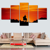 2017 Hot selling 5 Panels Art Picture On Canvas Handsome Human Riding Stronger Horse Wall Paintings For Living Room Unframed