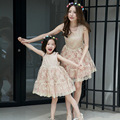mother daughter dresses summer 2017 Korean high-grade lace embroidered pure princess dress fashions children's clothes