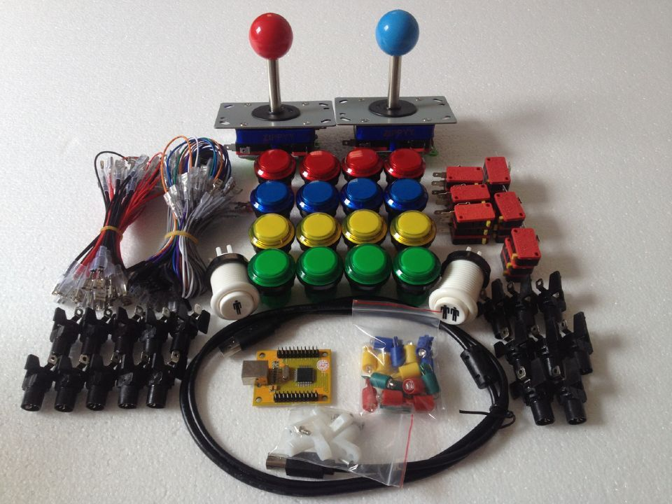 ФОТО Arcade parts Bundles With Illuminated button LED bulbs holders nuts Joystick player buttons Microswitch USB adapter ground wires